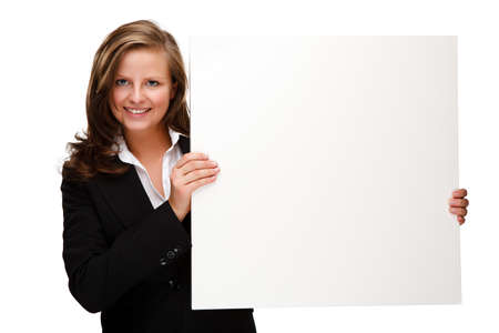 Young attractive girl behind empty board on white background Stock Photo - 17318118