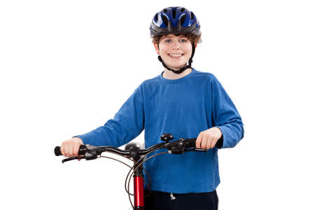 Cyclist isolated on white background Stock Photo - 17497151