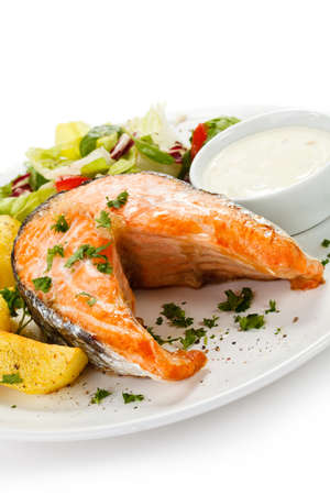 Grilled salmon, baked potatoes and vegetables Stock Photo - 17756558