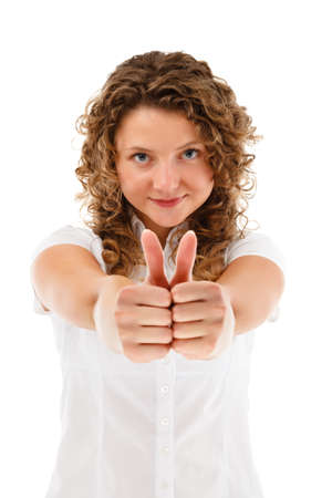 Woman showing OK sign isolated on white background photo