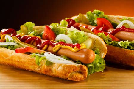 dog food: Hot dog Stock Photo