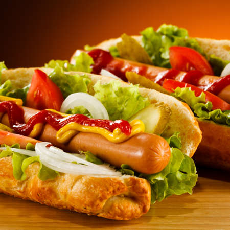 mustard: Hot dog Stock Photo