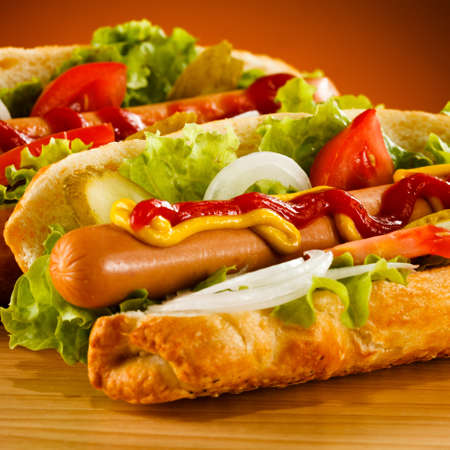 perro caliente: Hot dog Foto de archivo