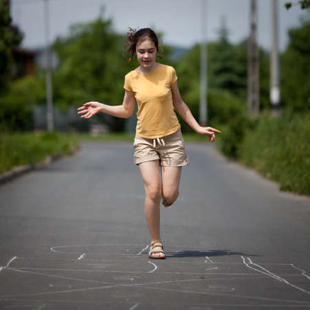 Girl jumping, running  photo