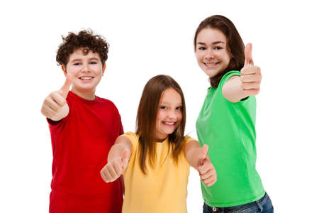 Kids showing OK sign isolated on white background photo