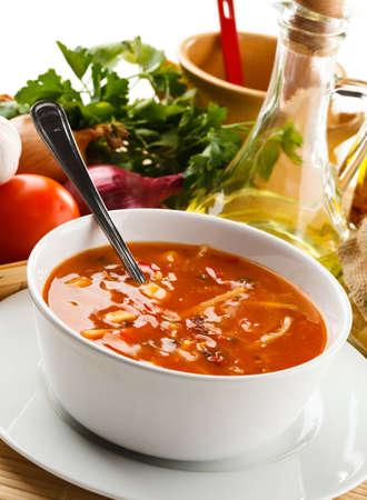 tomato soup: Tomato soup with ingredients Stock Photo