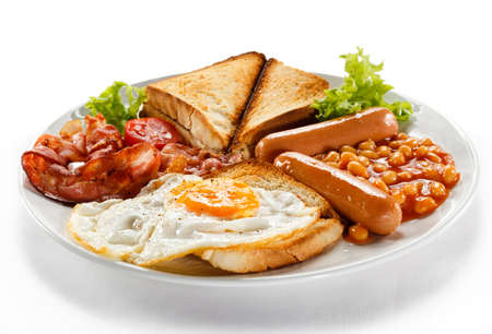 grease: English breakfast - toast, egg, bacon and vegetables