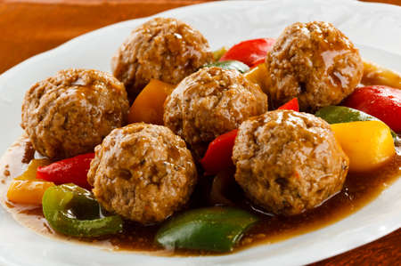 minced: Roasted meatballs and vegetables