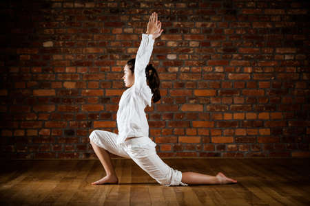 Woman exercising yoga against brick wall Stock Photo - 17993506