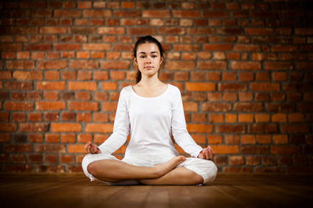 Woman exercising yoga against brick wall Stock Photo - 17993507