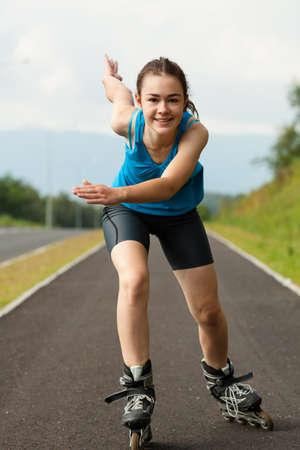 Girl rollerblading Stock Photo - 18182008