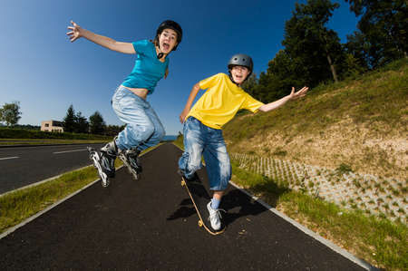 skateboard: Active young people - rollerblading, running Stock Photo
