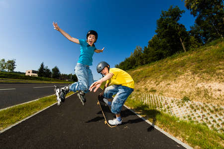 skateboard: Active young people - rollerblading, skateboarding