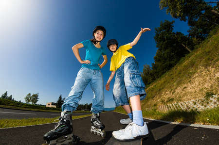 rollerblading: Active young people - rollerblading, skateboarding