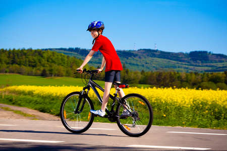 trail bike: Boy biking