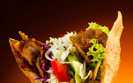 doner: Kebab - grilled meat, bread and vegetables Stock Photo