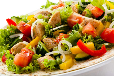 food dressing: Kebab - grilled meat and vegetables Stock Photo