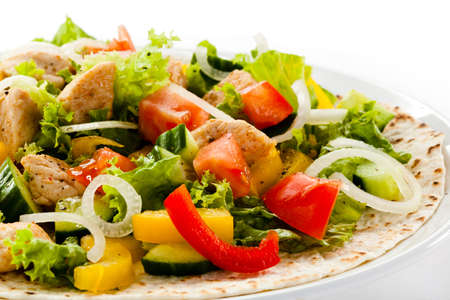 Kebab - grilled meat and vegetables Stock Photo - 18422354