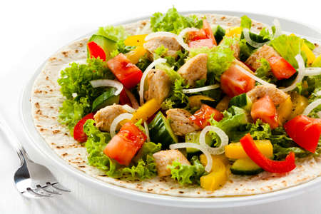 salad fork: Kebab - grilled meat and vegetables Stock Photo