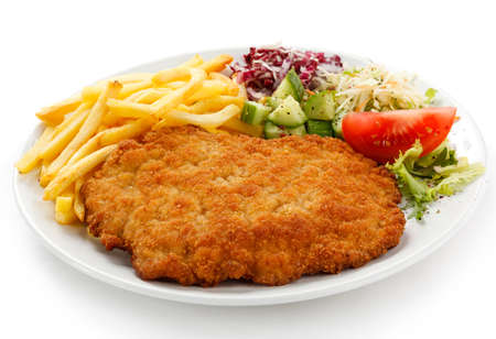 pork chop: Pork chop, French fries and vegetables Stock Photo