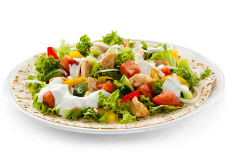Kebab - grilled meat and vegetables Stock Photo - 18538421