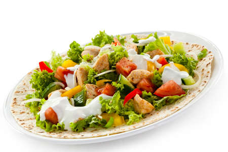 bbq background: Kebab - grilled meat and vegetables Stock Photo