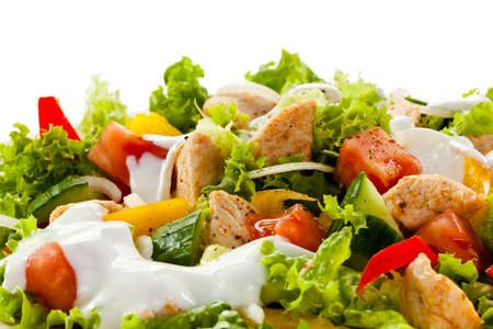 salad dressing: Kebab - grilled meat and vegetables Stock Photo