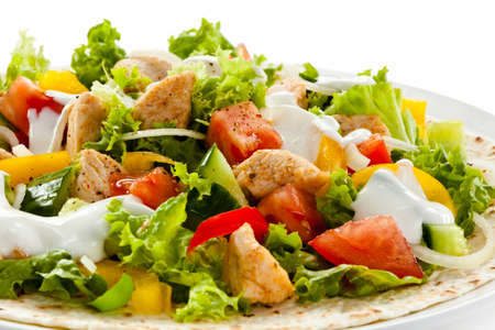 Kebab - grilled meat and vegetables photo