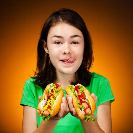 hotdog: Girl eating big sandwiches