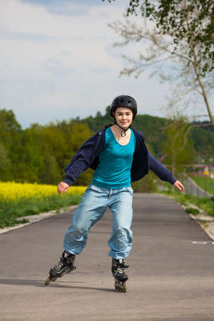 Girl rollerblading Stock Photo - 18659902