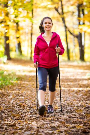 16 17 years girl: Nordic walking - active girl outdoor