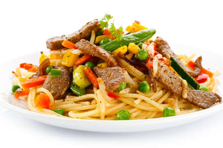 italy food: Pasta with meat and vegetables