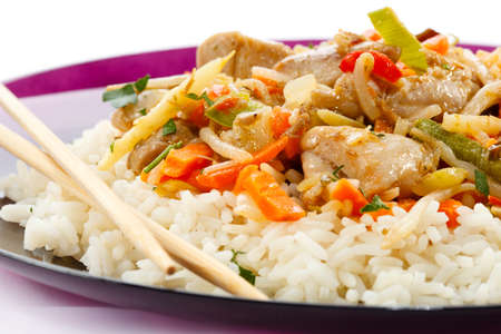 chicken rice: Asian food - chicken with vegetables and rice Stock Photo