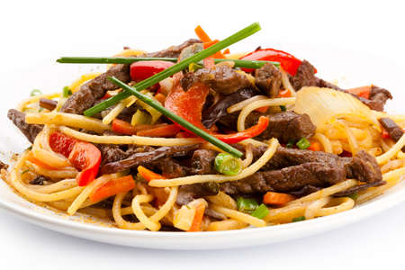 beef stew: Pasta with meat and vegetables