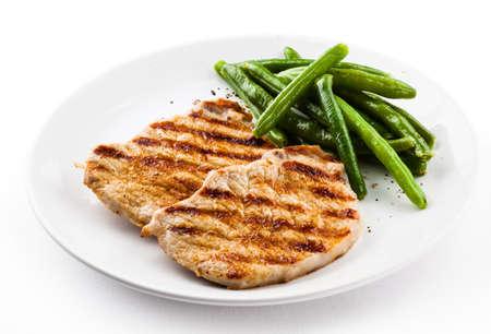 pollo asado: Carnes a la parrilla y frijoles cadena