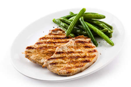 loin chops: Grilled steaks and string bean