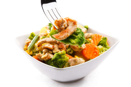 br�coli: Carne asada y verduras Foto de archivo