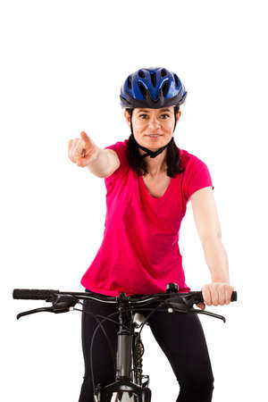 bicyclists: Cyclist isolated on white background Stock Photo