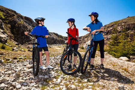Healthy lifestyle - family biking photo