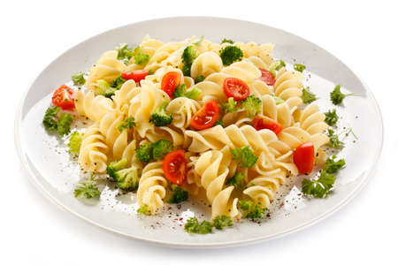 eating pasta: Pasta with vegetables Stock Photo