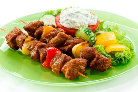 gyros: Grilled meat and vegetables