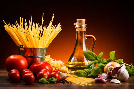 dine: Pasta and fresh vegetables Stock Photo