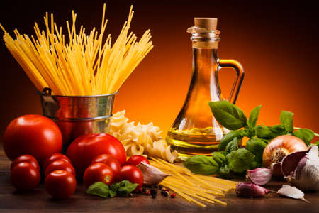 Pasta and fresh vegetables Stock Photo