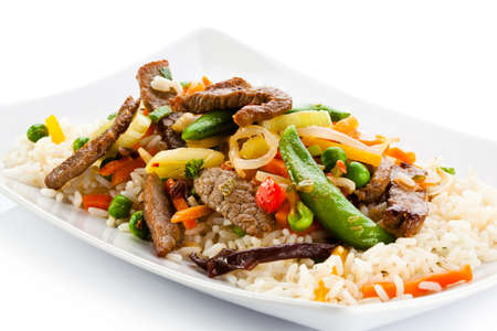 Carne asada, arroz blanco y verduras photo