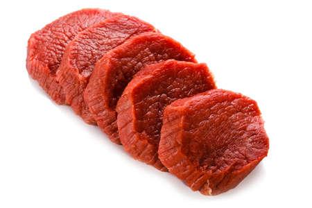 chop stick: Raw beef on white background