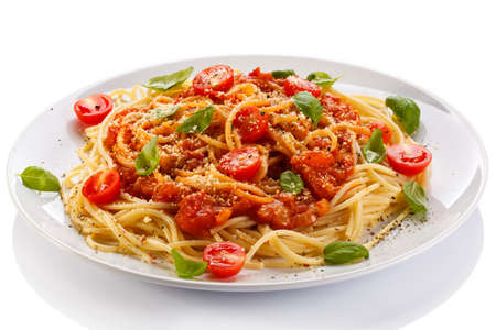 meat dish:  Pasta with meat, tomato sauce, parmesan and vegetables