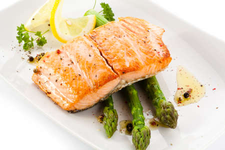 Roasted salmon and vegetables photo
