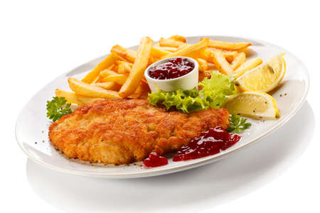 Pork chop, French fries and lingonberry