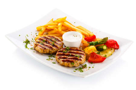 french fried potato: Grilled steaks, French fries and vegetables