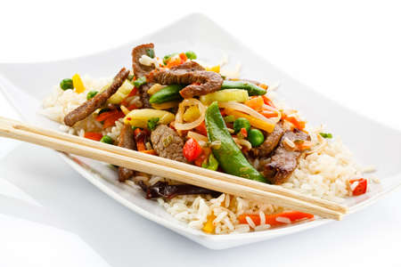 chopstick: Roasted meat, white rice and vegetables
